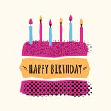 Vector cute Happy Birthday card with cake, candles. And geometric elements Stock Images