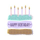 Vector cute Happy Birthday card with cake, candles. And geometric elements Royalty Free Stock Images