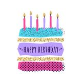 Vector cute Happy Birthday card with cake, candles. And geometric elements Stock Photo