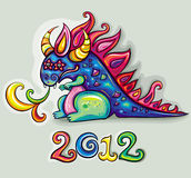 Vector cute happy dragon. Oriental New Year theme: Cute, fabulous, magical, blue and funny dragon, spinning rainbow magic fire. Star eyes stock illustration
