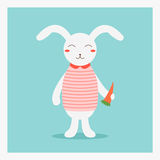 Vector cute happy flat domestic animal rabbit hare with orange carrot in pink striped shirt with pink collar Stock Photo