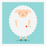 Vector cute happy flat domestic animal sheep with red flower on hand Stock Photo