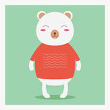 Vector cute happy flat wild animal bear in orange sweater with white pattern Royalty Free Stock Photo
