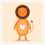 Vector cute happy flat wild animal lion with white heart on chest and long tail Royalty Free Stock Photography