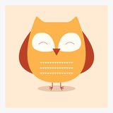 Vector cute happy flat wild animal owl with pattern on belly Royalty Free Stock Image
