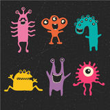 Vector cute happy monsters Royalty Free Stock Images