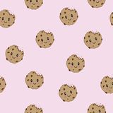 Vector Cute happy smiling chocolate chip cookies.seamless pattern background. Vector flat cartoon iluustration icon royalty free illustration