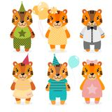 Vector cute happy tiger, girls and boys.dressed in different clothes. Scrapbooking print. congratulate card. In white background Stock Image