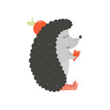 Vector cute hedgehog with apple and heart Stock Images
