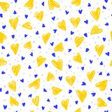 Seamless colorful pattern with yellow hand drawing hearts. Vector cute holiday background. Gift wrap, print, cloth, cute background for a card Stock Illustration