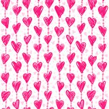 Seamless romantic pattern with hand drawing hearts. Vector cute holiday background. Love texture Stock Illustration