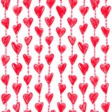 Seamless romantic pattern with hand drawing red hearts. Vector cute holiday background. Love texture Royalty Free Illustration