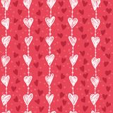 Seamless romantic pattern with hand drawing white hearts.. Vector cute holiday background. Love texture Royalty Free Illustration