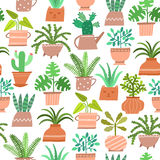 Vector cute house plant seamless pattern Stock Photos