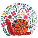 Vector cute illustration of folk snail and flowers on a white background. Beautiful snail clip-art for your design vector illustration