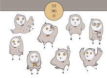 Vector cute illustration with hand drawn set of colorful owls in different poses and various emotions on face, with yellow eyes, l Stock Photos