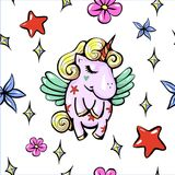Vector cute illustration with pegasus shy baby unicorn with wings seamless pattern. Vector Royalty Free Stock Images