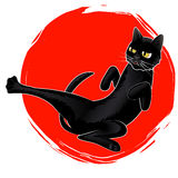 Vector Cute Karate Black Cat on Red Sun logo. Vector Illustration Logo Cute Karate Black Cat on Red Sun Royalty Free Stock Photo