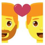 Cute kawaii couple smiling emoji colorful isolated Stock Image
