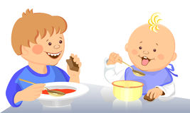 Vector Cute kids eat Royalty Free Stock Images