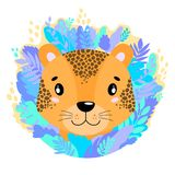 Vector cute kind leopard face in the jungle. For print on a T-shirt, a picture in the nursery. stock illustration