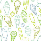 Vector cute lime seamless pattern with ice creams Royalty Free Stock Photos