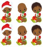 Vector Cute African American Baby Boys  Wearing Christmas Clothes Royalty Free Stock Photo