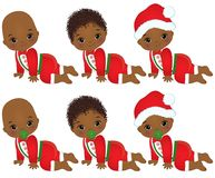 Vector Cute Little African American Baby Boys Wearing Christmas Clothes Stock Photo