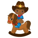 Vector Cute Little African American Baby Boy Dressed as Cowboy. Vector cute little African American baby dressed as cowboy. Vector baby boy shower. Vector little royalty free illustration