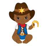 Vector Cute Little African American Baby Boy Dressed as Cowboy. Vector cute little African American baby dressed as cowboy. Vector baby boy shower. Vector little stock illustration