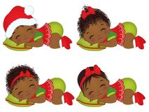 Vector Cute African American Baby Girls Wearing Christmas Clothes Stock Photos