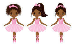 Vector Cute Little African American Ballerinas. With various hairstyles. Vector ballerinas in pink tutu dresses. African American ballerinas vector illustration vector illustration