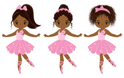 Vector Cute Little African American Ballerinas. With various hairstyles. Vector ballerinas in pink tutu dresses. African American ballerinas vector illustration Stock Images