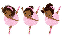 Vector Cute Little African American Ballerinas with Various Hairstyles. Vector ballerinas in pink tutu dresses. African American ballerinas vector illustration Royalty Free Stock Photos