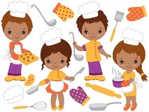 Vector Cute Little African American Chefs Cooking and Baking. Vector Small Kids. Vector cute little African American kids cooking and baking. Vector small kids vector illustration