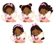 Vector Cute Little African American Fairies with Butterflies. Vector little African American girls with various hairstyles. Vector fairy. Fairies with Royalty Free Stock Images