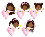 Vector Cute Little African American Fairies with Magic Wands Flying Royalty Free Stock Photography