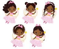 Vector Cute Little African American Fairies with Magic Wands Flying. Vector little African American girls with various hairstyles. Vector little fairy. Fairies Royalty Free Stock Photos