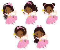Vector Cute Little African American Fairies with Magic Wands Flying Stock Photo