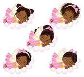Vector Cute Little African American Fairies Sleeping on Flowers. Vector cute little African American fairies with various hairstyles sleeping on flowers. Vector Stock Image