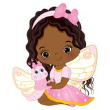 Vector Cute Little African American Fairy with Butterfly. Vector cute little African American fairy with cartoon butterfly. Vector little African American girl Royalty Free Stock Image