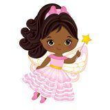 Vector Cute Little African American Fairy with Magic Wand. Flying. Vector little African American girl. Vector little fairy. Fairy vector illustration Stock Photos