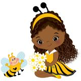 Vector Cute Little African American Girl with Bee and Flowers. Little girl dressed in bee style. Vector little girl. Little African American girl vector vector illustration