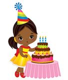 Vector Cute Little African American Girl Blowing out Candles on Birthday Cake Royalty Free Stock Photography