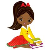 Vector Cute Little African American Girl with Books Stock Image