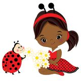 Vector Cute Little African American Girl with Ladybug and Flower Stock Photos