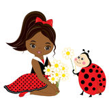 Vector Cute Little African American Girl with Ladybug and Flowers. Vector little girl in polka dot dress and red bow. Ladybug and little girl vector Stock Photo