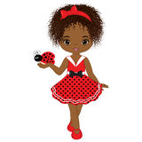 Vector Cute Little African American Girl with Ladybug Stock Image