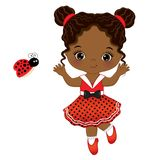 Vector Cute Little African American Girl with Ladybug Royalty Free Stock Photography
