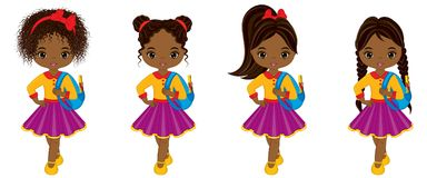 Vector Cute Little African American Girl with School Bags. Vector cute little African American girls with school bags. Vector African American girls with various Stock Image